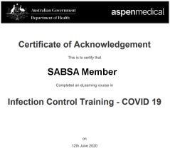 Covid19 InfectionTraining Course Certificate